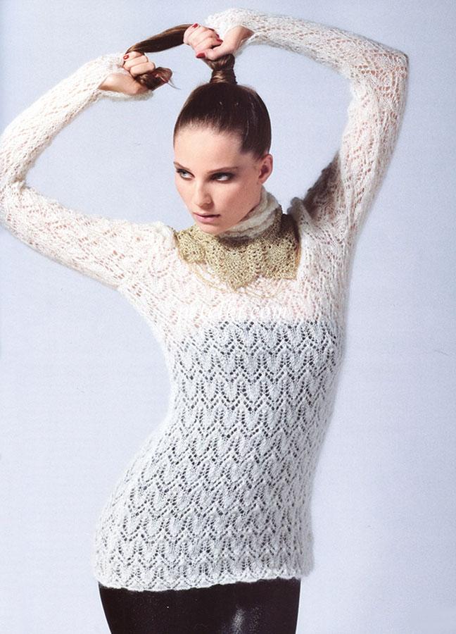 Ажурный свитер из тонкой