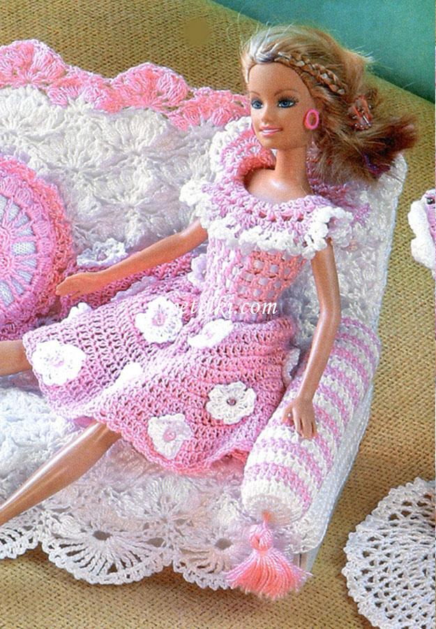 схемы вязания крючком платьев для барби.