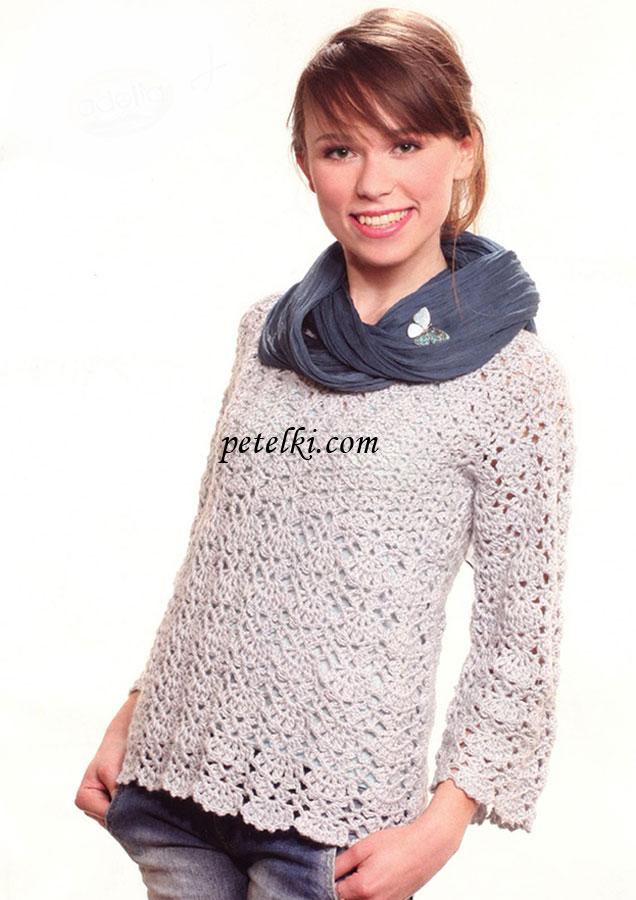 Пуловер с кокеткой ажурным