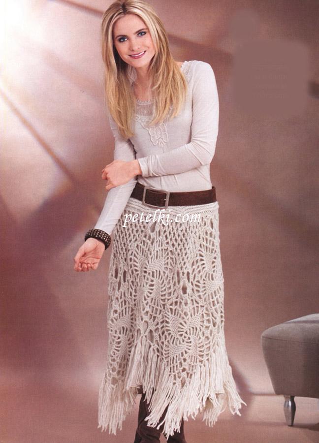 Длинная юбка из ажурных