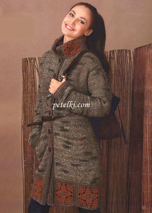 Пальто с планками из квадратов