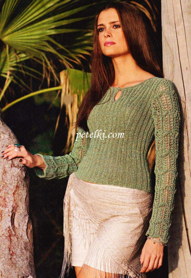 Облегающий пуловер с ажурными