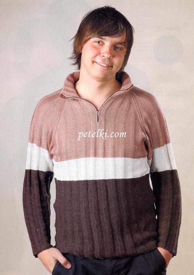Мужской свитер реглан Свитер связан спицами.  Для вязания свитера Вам...