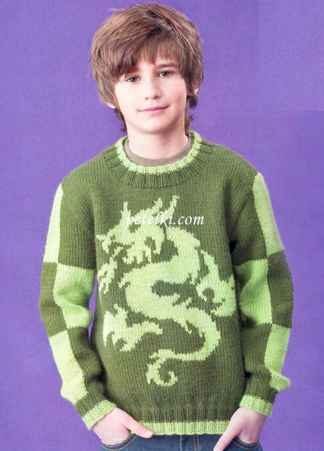 Вязаный пуловер с драконом