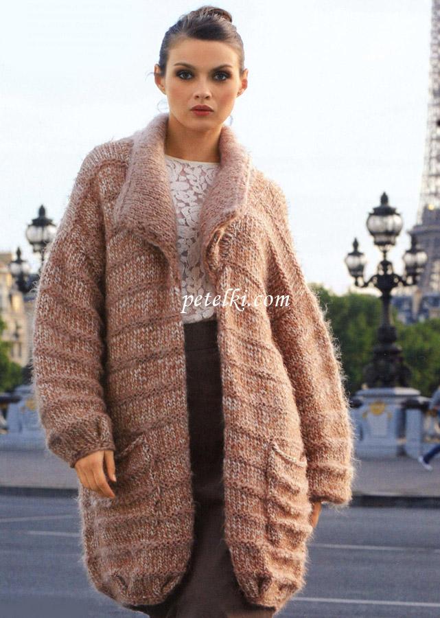 Пальто в форме кокона с карманами