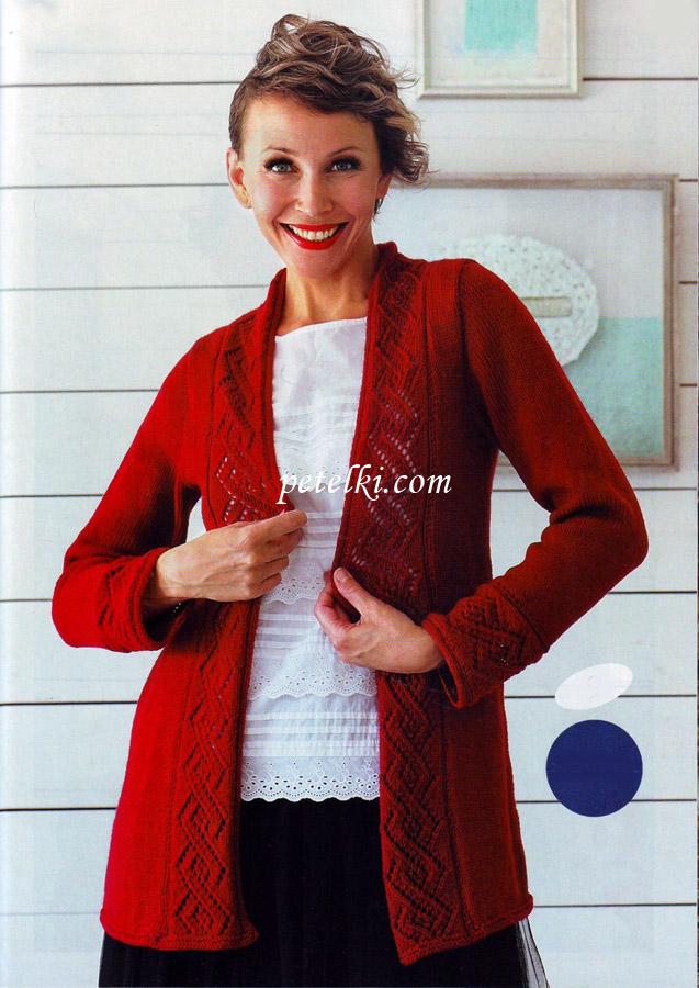 Красный жакет с ажурной каймой