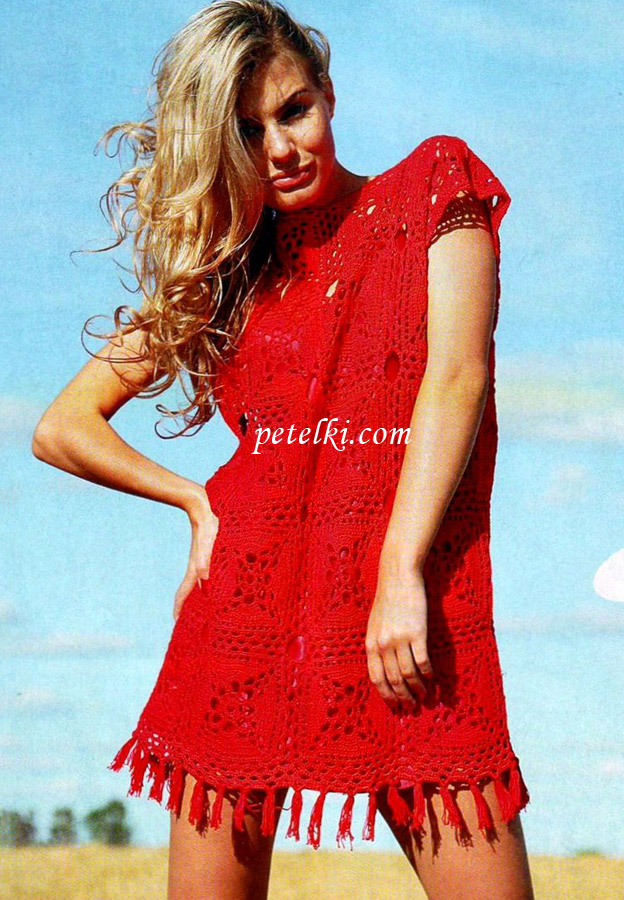 Платье связано крючком из квадратных мотивов. крючок 3. пряжа (100...