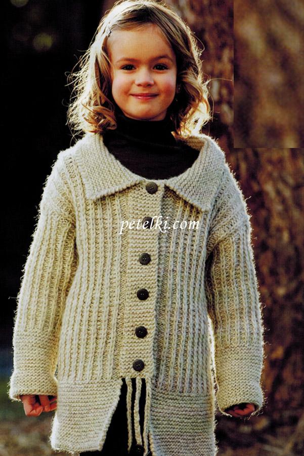 Вязаное пальто для девочки 6-9 месяцев » Петля - вязание на все
