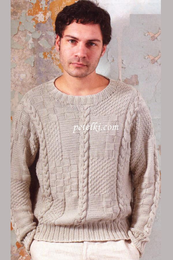 Мужской пуловер вязание.