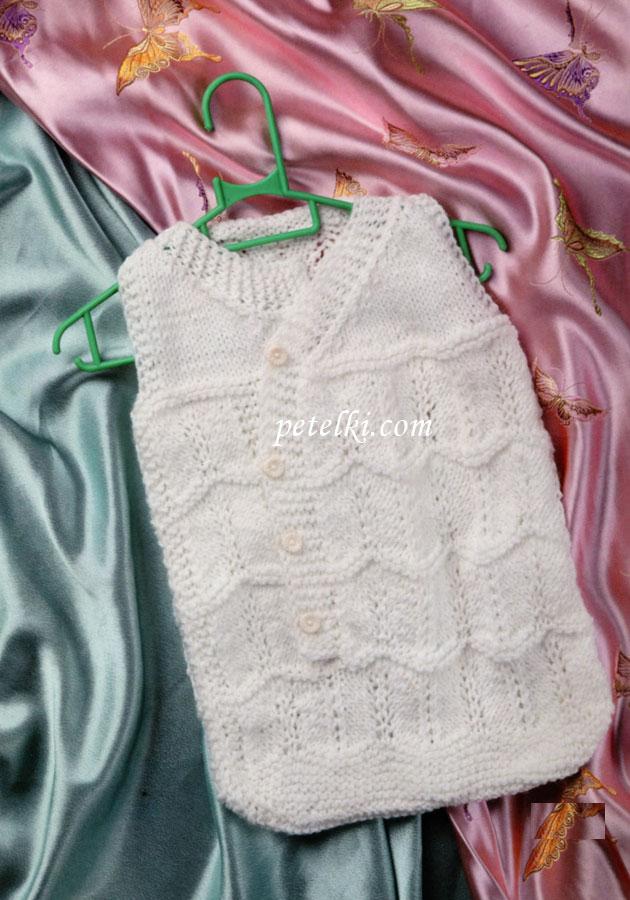 Конверт для новорожденных связан спицами