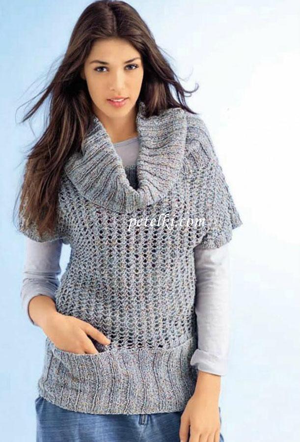 Женский вязаный свитер с ажурным узором модели вязания для женщин