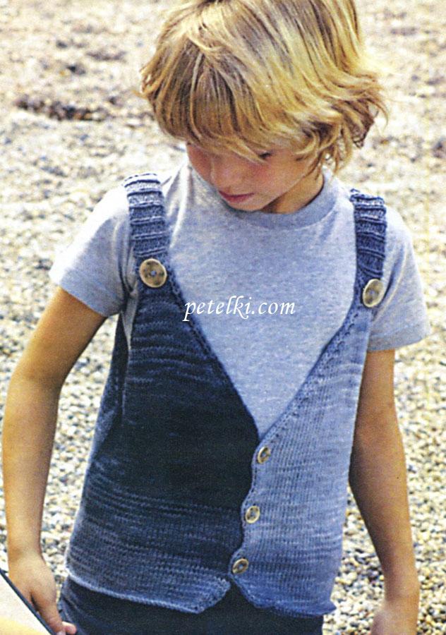 Вязание - жилет на пуговицах для мальчика (с описанием) qa8..