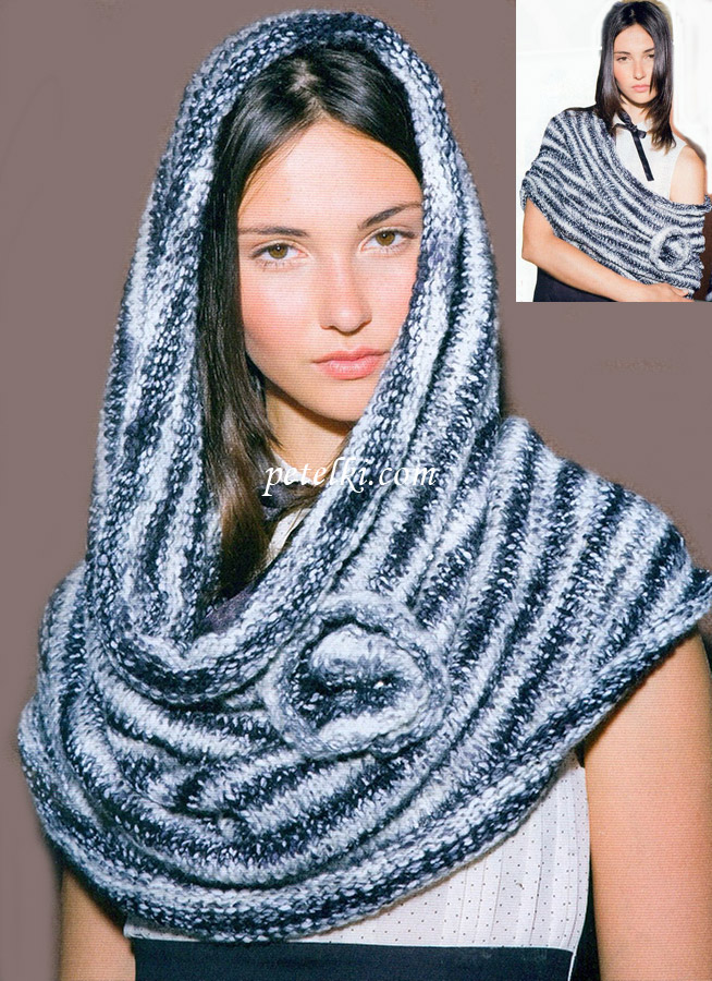 Вязаный шарф-труба снуд с
