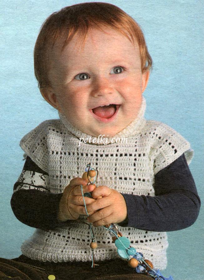 Детская жилетка с воротником-