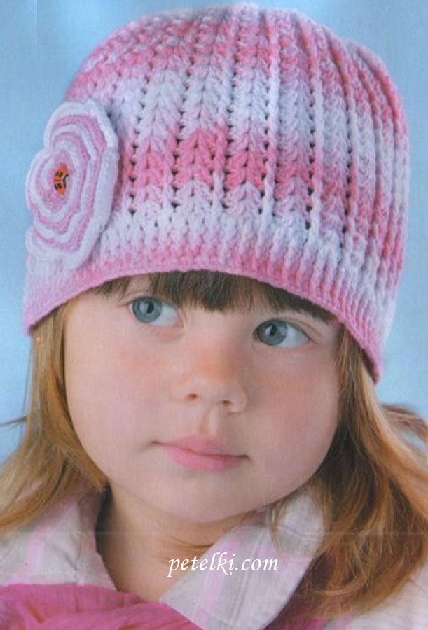 Розовая шапочка с цветком