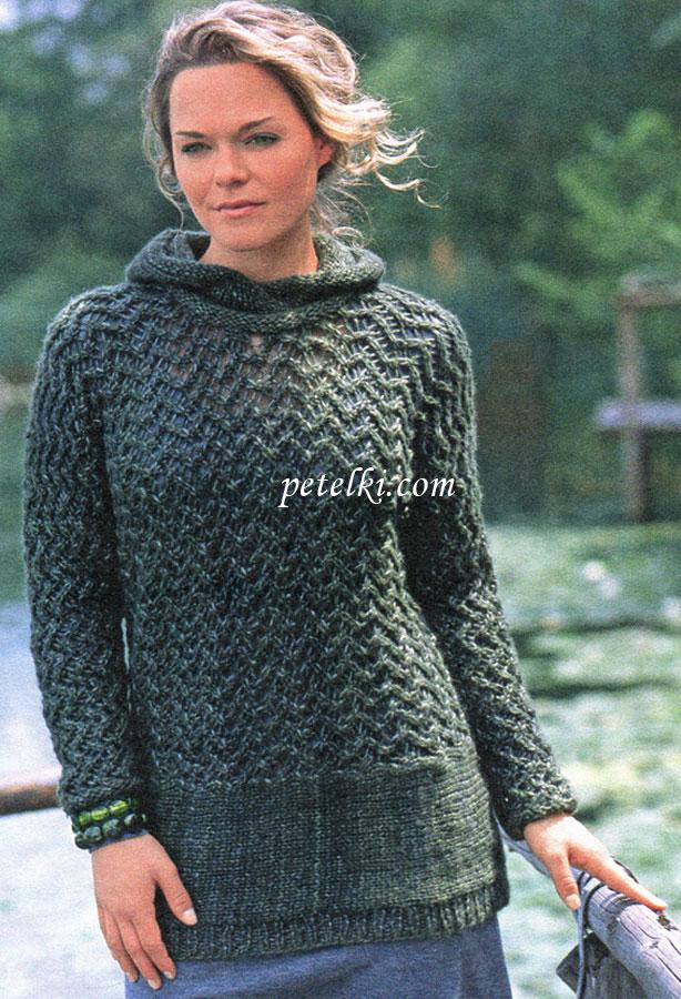 Пуловер с капюшоном кружевным