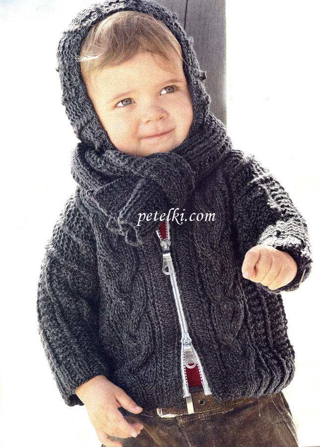 Детский жакет с капюшоном на