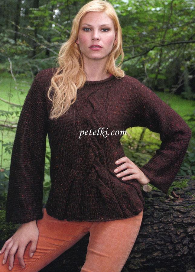 Пуловер с цельновязанными рукавами доставка