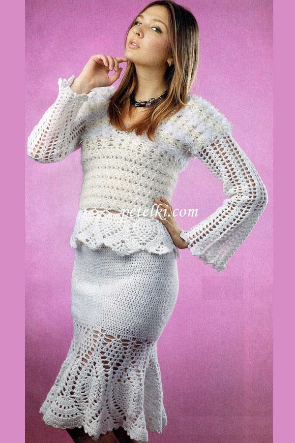 Вязание крючком костюм юбка и