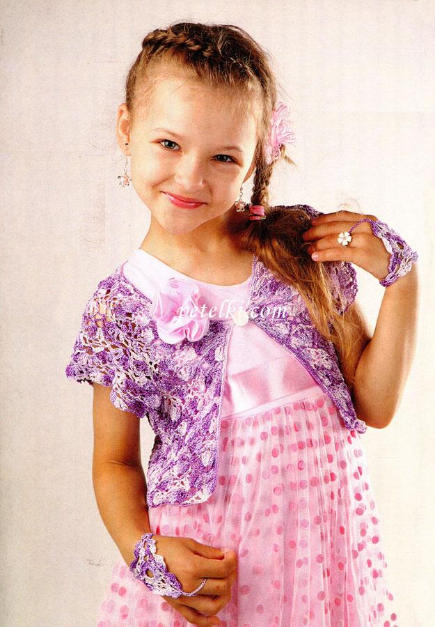 Основной узор: вяжите по схеме 1. Плотность вязания...  Болеро.  На 6-7 лет Вам потребуется: пряжа (100% микрофибра...