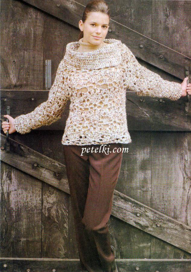 Ажурный свитер из толстой