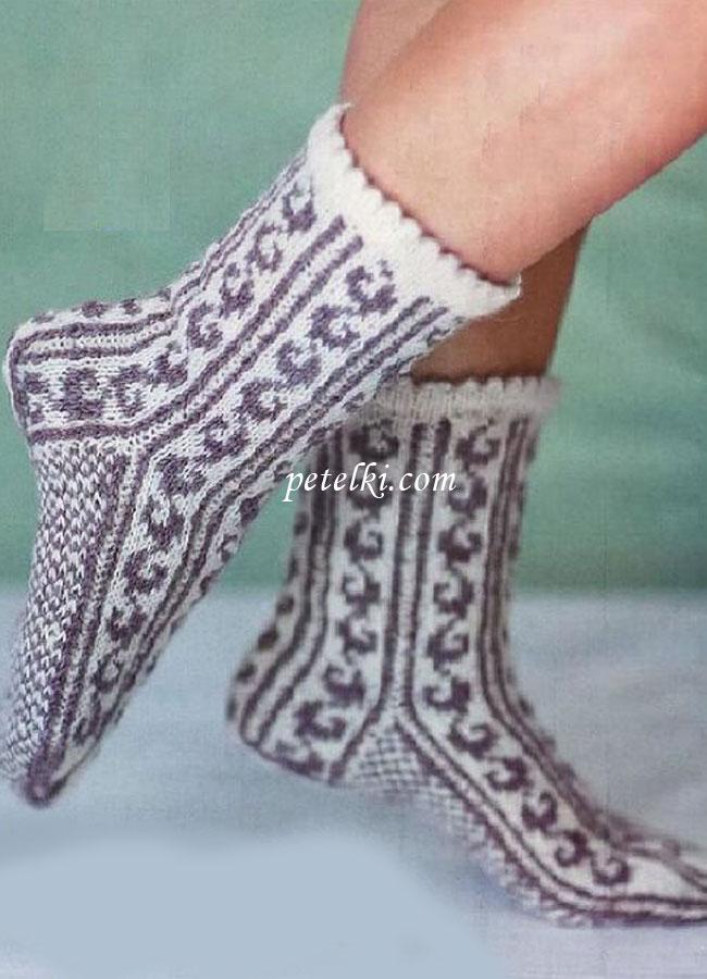 Вязание спицами носков. Схемы носков спицами на 79