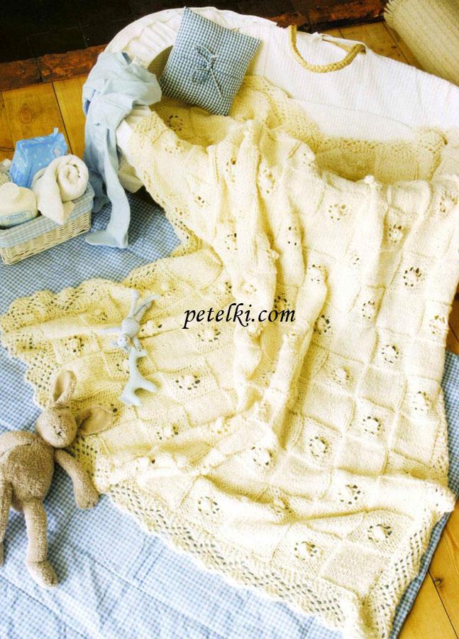 Детское одеяло вязаное спицами