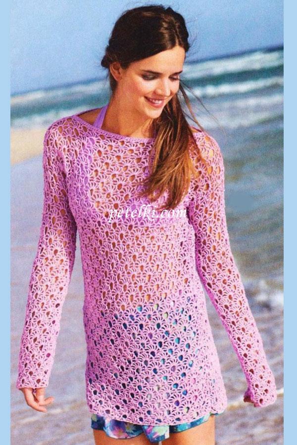 Длинный пуловер с веерным