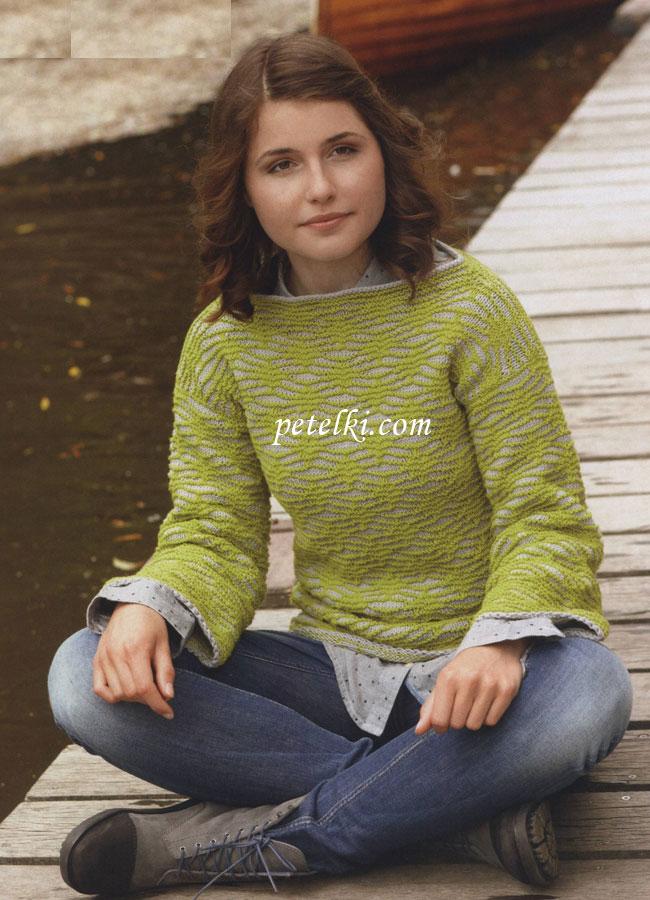 Двухцветные свитера женские вязаные