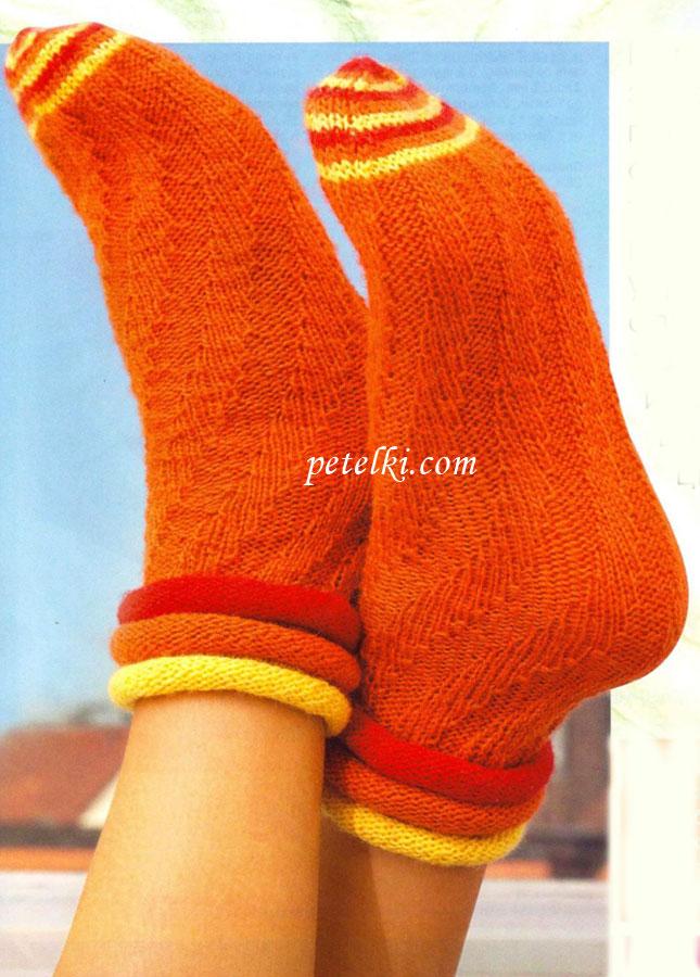 Вязание спицами носки спираль