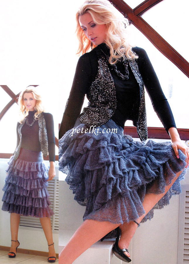 вязание крючком и спицами женской одежды размер 48-50 из мохеровой пряжи онлайн бесплатно.