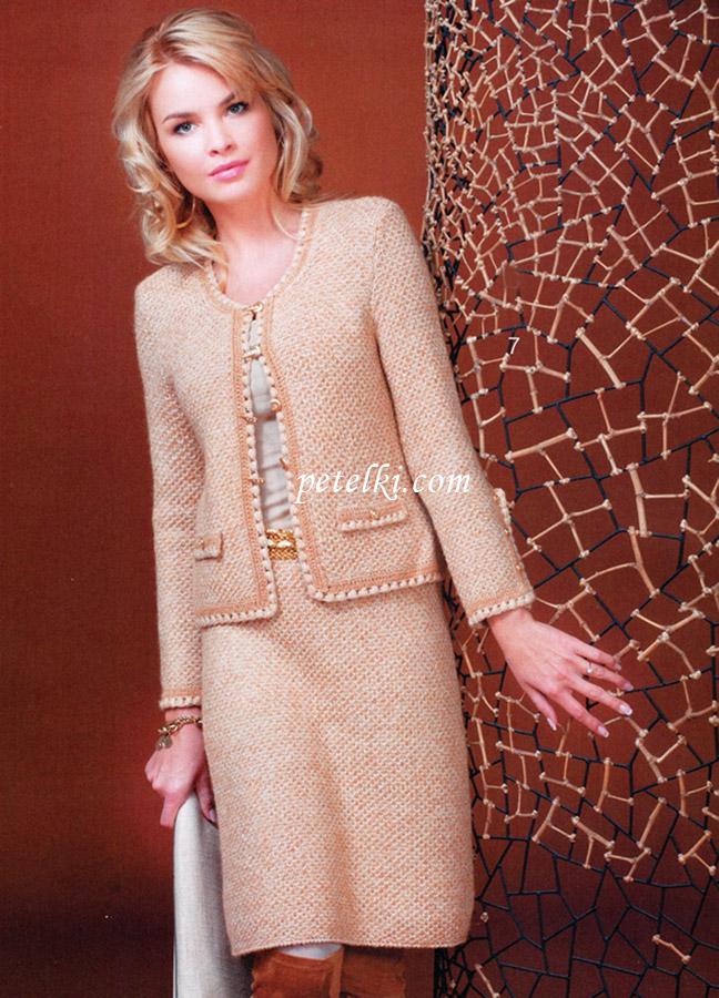 Костюм жакет и юбка в стиле Шанель