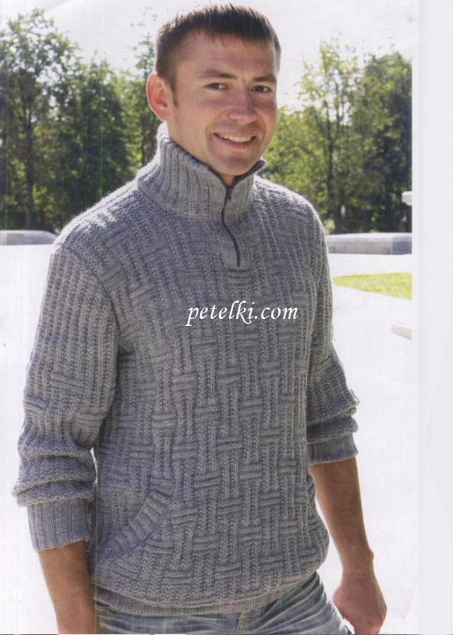Джемпер с воротником-поло и карманами