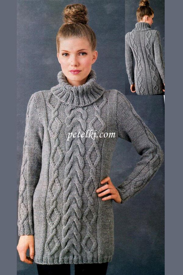 длинный свитер вязать схема