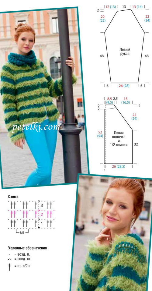 Частичное вязание для реглана 756