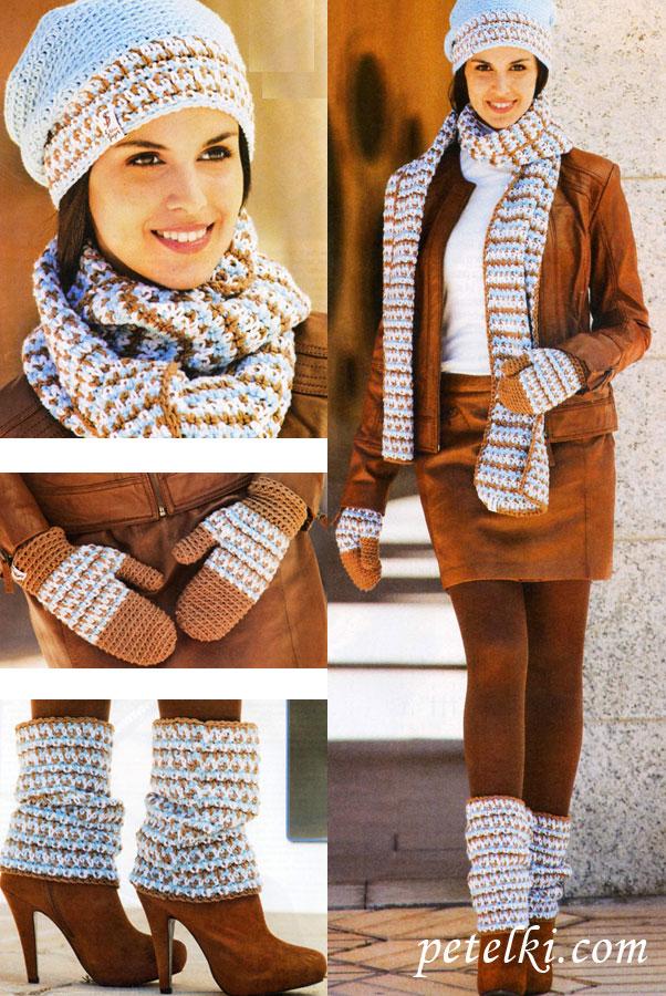 Вязаные шапочки и шарфы своими руками 48
