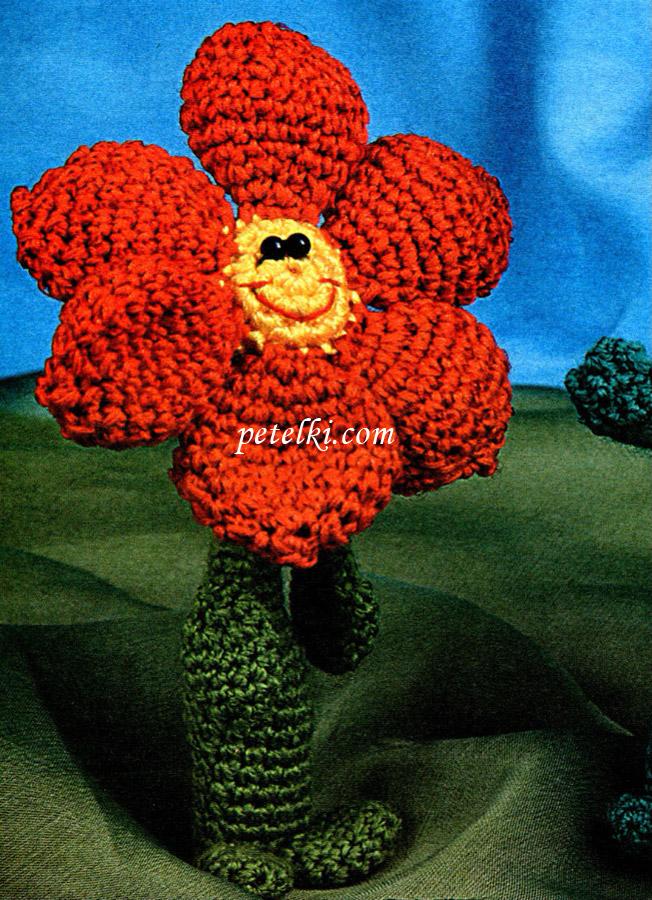 Вязаный цветок-тюльпан.  Цветок связан крючком.