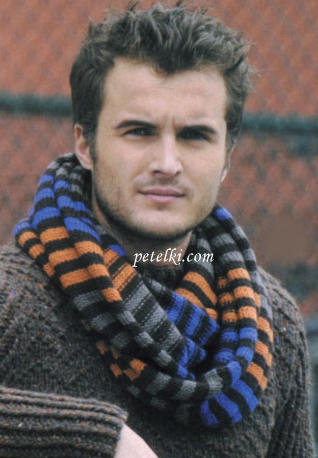 Комментарий: Мужской шарф-хомут (снуд) связан.
