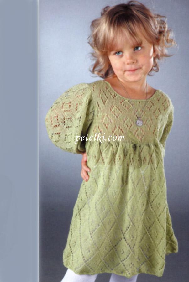 Ажурное платье для девочки 2 лет спицами