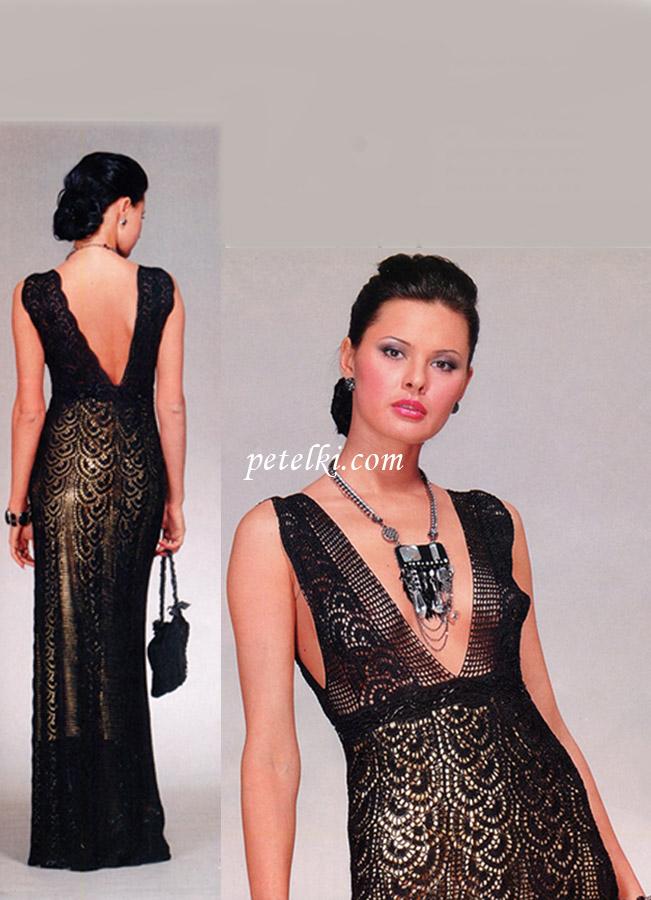 Длинное платье из ленточного кружева