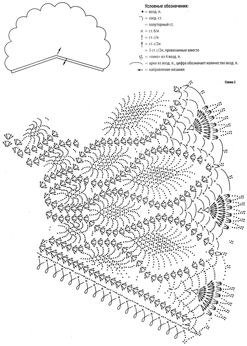 схема вязания ажурной шали с узором ананас