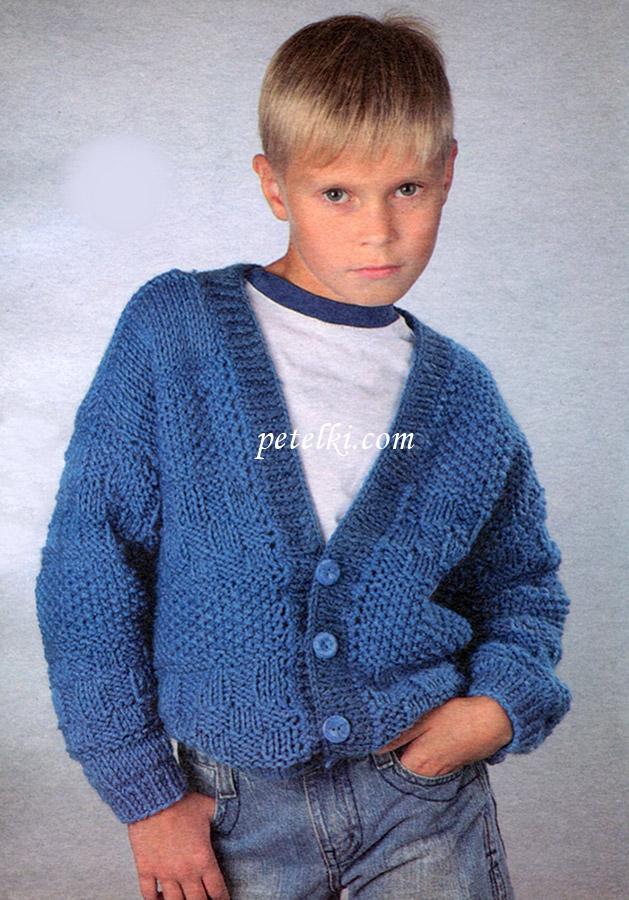 Вязание кофта для мальчика на пуговицах