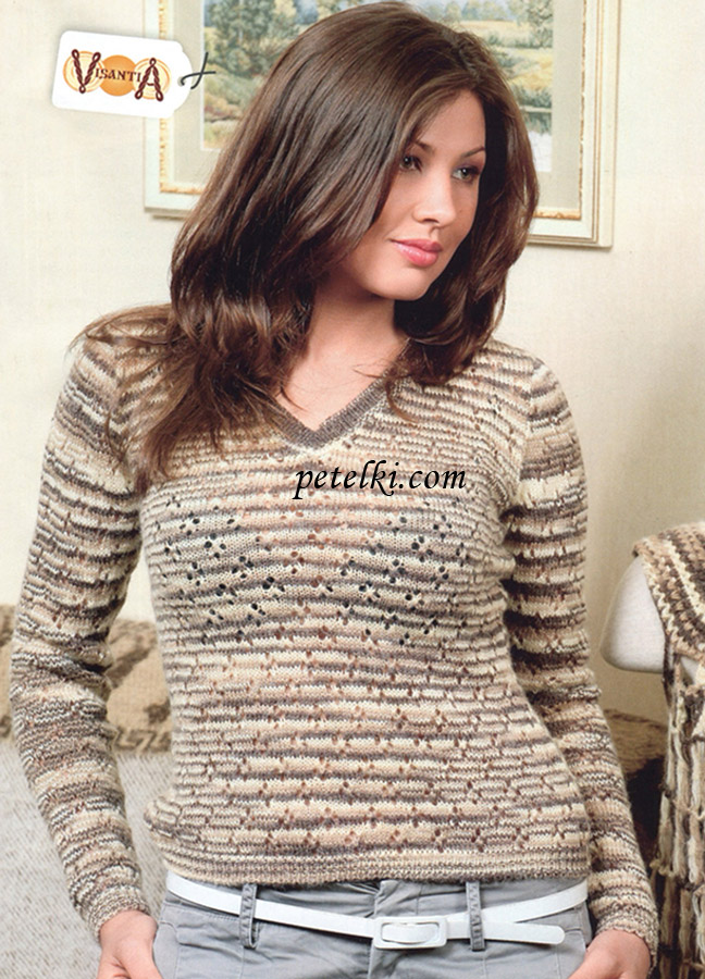 Меланжевый ажурный пуловер