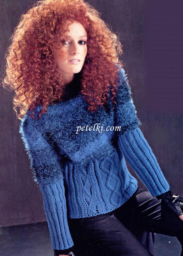 Пуловер с пушистой кокеткой