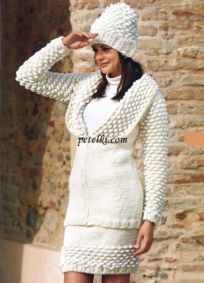 Жакет на молнии юбка и шапочка