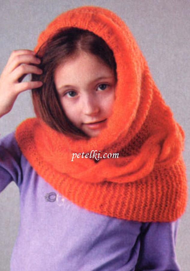 Снуд - схема вязания спицами.  Эту модель для женщин ещё называют шарф...