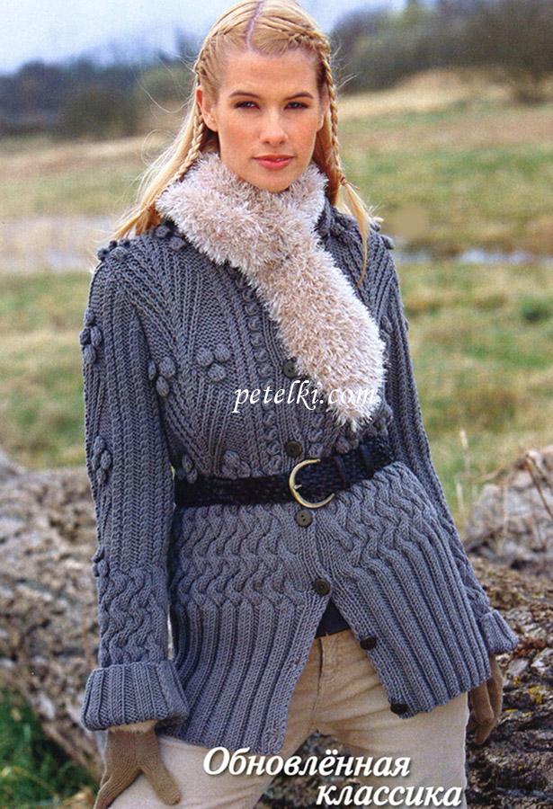 Кардиган с плетеным и рельефным узорами