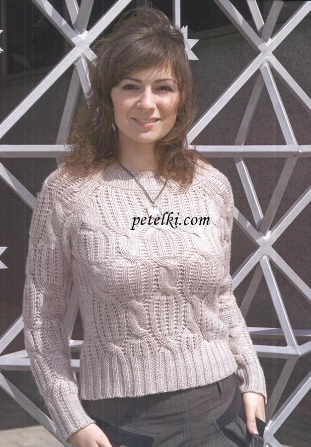 Пуловер-реглан с рельефным
