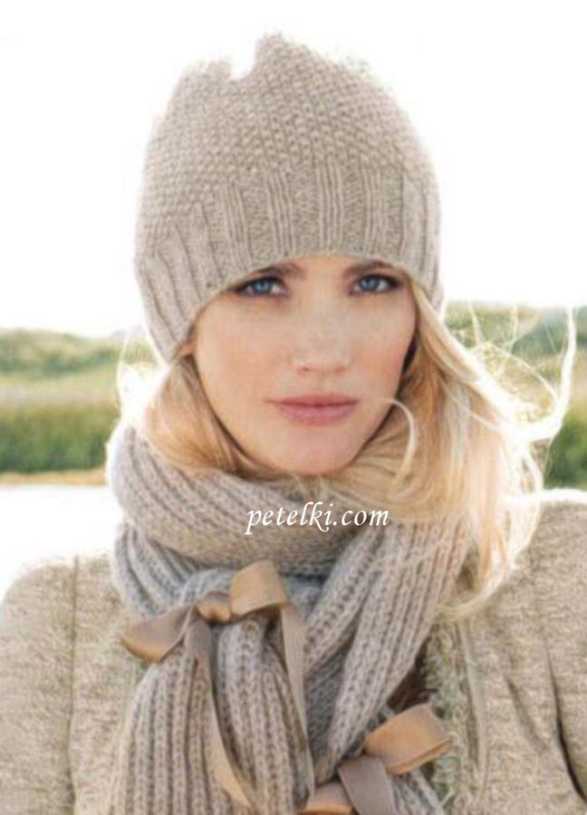 Шапка и шарф спицами 3 фотография