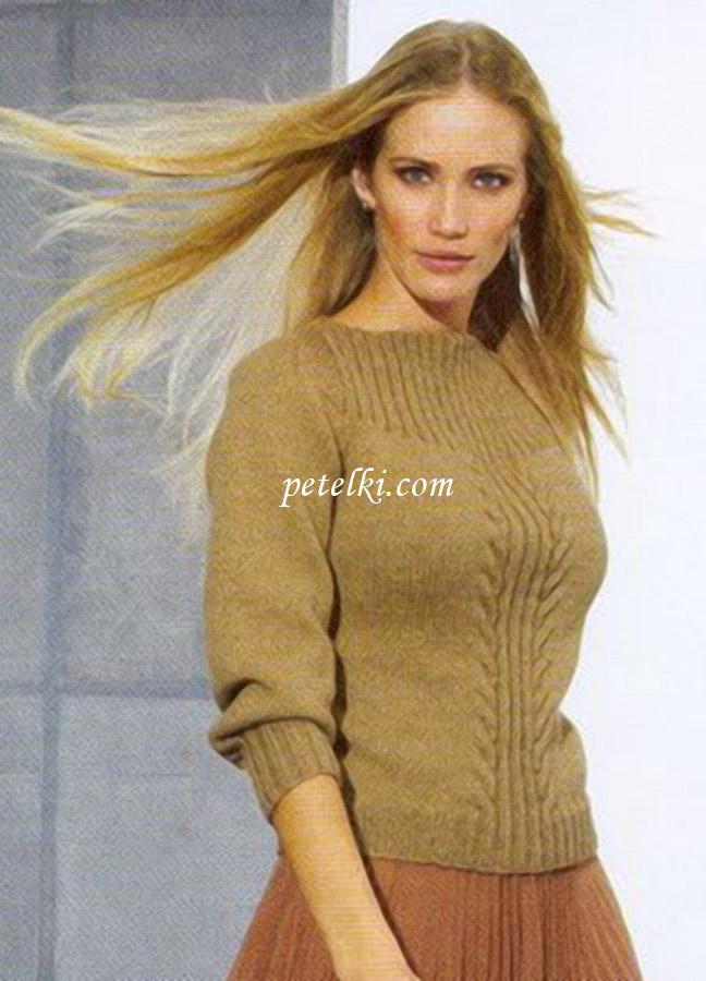 Пуловер с кокеткой и вырезом-